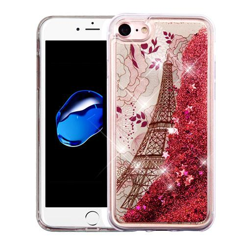Apple iPhone 7 (4.7 inch) Case, Slim Crystal Back Bumper Case [Drop Protection] [Eiffel Tower & Rose Gold Stars] Quicksand Glitter Flexible Border Case with Travel Wallet Phone Stand