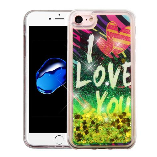 Apple iPhone 7 (4.7 inch) Case, Slim Crystal Back Bumper Case [Drop Protection] [I Love You & Gold Hearts] Quicksand Glitter Flexible Border Case with Travel Wallet Phone Stand