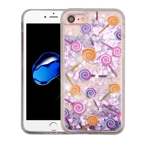 Apple iPhone 7 (4.7 inch) Case, Slim Crystal Back Bumper Case [Drop Protection] [Lollipops & Purple Hearts] Quicksand Glitter Flexible Border Case with Travel Wallet Phone Stand