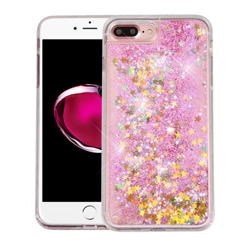 Apple iPhone 7 Plus (5.5 inch) Case, Slim Crystal Back Bumper Case [Drop Protection] [Baby Pink & Stars] Quicksand Glitter Flexible Border Case