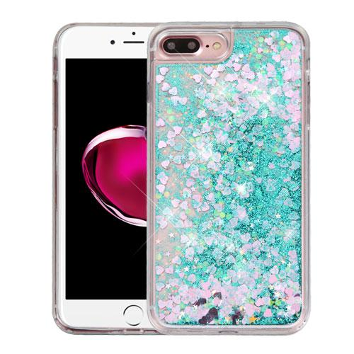 Apple iPhone 7 Plus (5.5 inch) Case, Slim Crystal Back Bumper Case [Drop Protection] [Green & Hearts] Quicksand Glitter Flexible Border Case