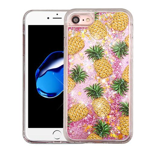 Apple iPhone 7 (4.7 inch) Case, Slim Crystal Back Bumper Case [Drop Protection] [Pineapples & Baby Pink w/ Stars] Quicksand Glitter Flexible Border Case