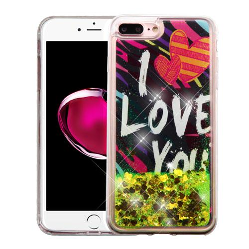 Apple iPhone 7 Plus (5.5 inch) Case, Slim Crystal Back Bumper Case [Drop Protection] [I Love You & Gold Hearts] Quicksand Glitter Flexible Border Case