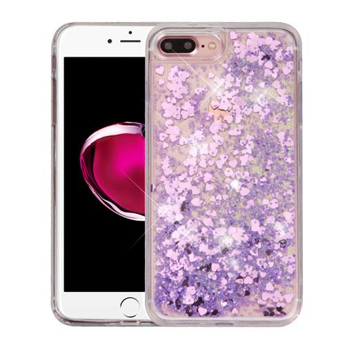 Apple iPhone 7 Plus (5.5 inch) Case, Slim Crystal Back Bumper Case [Drop Protection] [Purple Hearts] Quicksand Glitter Flexible Border Case