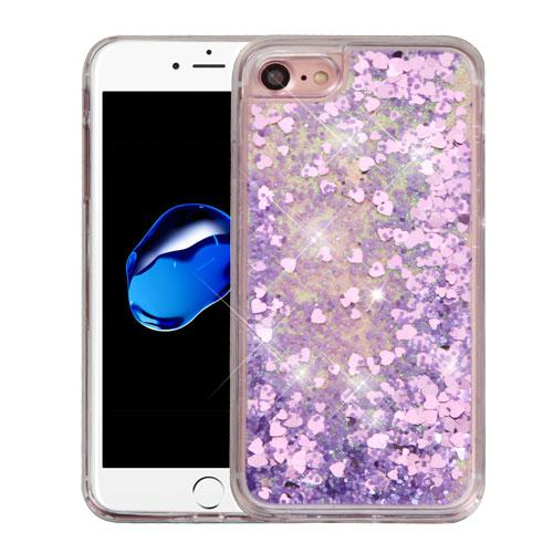 Apple iPhone 7 (4.7 inch) Case, Slim Crystal Back Bumper Case [Drop Protection] [Purple Hearts] Quicksand Glitter Flexible Border Case
