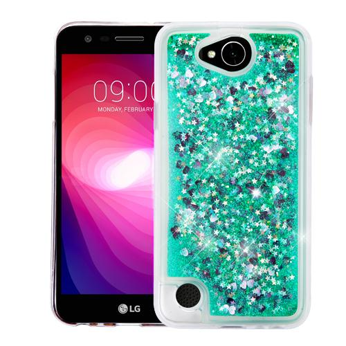 LG X Power 2 Case, Slim Crystal Back Bumper Case [Drop Protection] [Green & Hearts] Quicksand Glitter Flexible Border Case