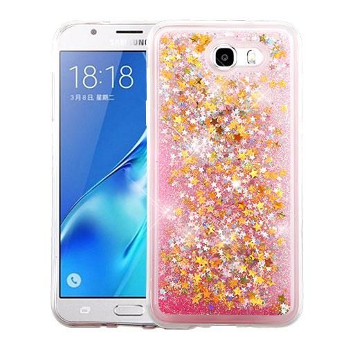 Samsung Galaxy J7 [2017]/ Galaxy J7 Perx Case, Slim Crystal Back Bumper Case [Drop Protection] [Baby Pink & Stars] Quicksand Glitter Flexible Border Case