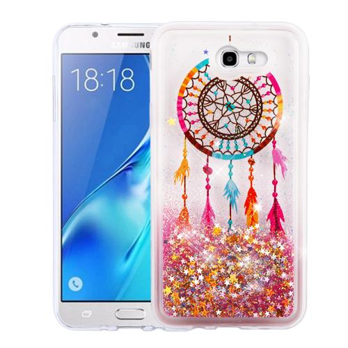 Samsung Galaxy J7 [2017]/ Galaxy J7 Perx Case, Slim Crystal Back Bumper Case [Drop Protection] [Dreamcatcher & Gold Stars] Quicksand Glitter Flexible Border Case