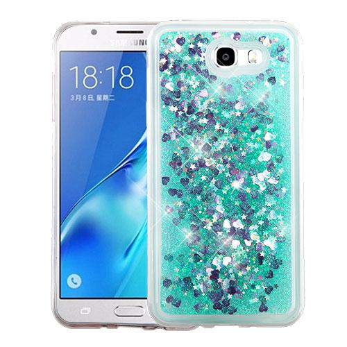 Samsung Galaxy J7 [2017]/ Galaxy J7 Perx Case, Slim Crystal Back Bumper Case [Drop Protection] [Green & Hearts] Quicksand Glitter Flexible Border Case