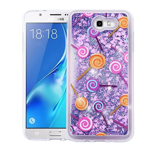 Samsung Galaxy J7 [2017]/ Galaxy J7 Perx Case, Slim Crystal Back Bumper Case [Drop Protection] [Lollipops & Purple Hearts] Quicksand Glitter Flexible Border Case with Travel Wallet Phone Stand