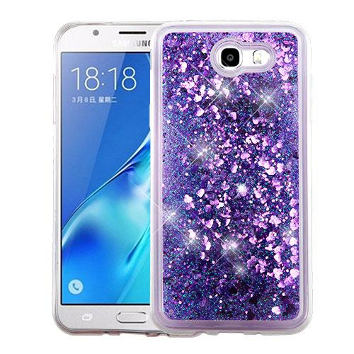 Samsung Galaxy J7 [2017]/ Galaxy J7 Perx Case, Slim Crystal Back Bumper Case [Drop Protection] [Purple Hearts] Quicksand Glitter Flexible Border Case