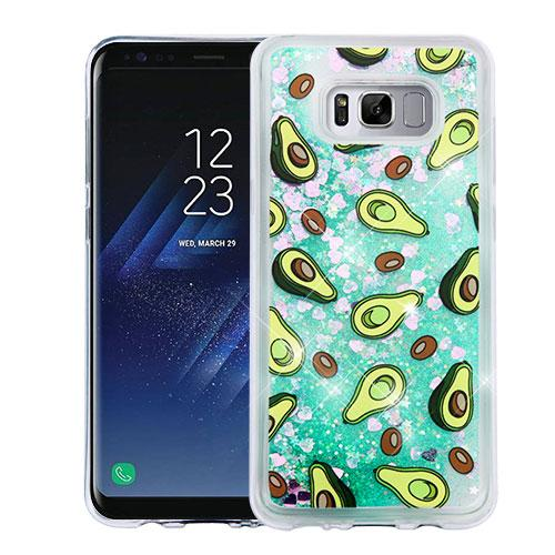 Samsung Galaxy S8 Case, Slim Crystal Back Bumper Case [Drop Protection] [Avocados & Green w/ Hearts] Quicksand Glitter Flexible Border Case with Travel Wallet Phone Stand