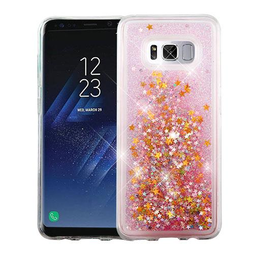 Samsung Galaxy S8 Case, Slim Crystal Back Bumper Case [Drop Protection] [Baby Pink & Stars] Quicksand Glitter Flexible Border Case with Travel Wallet Phone Stand