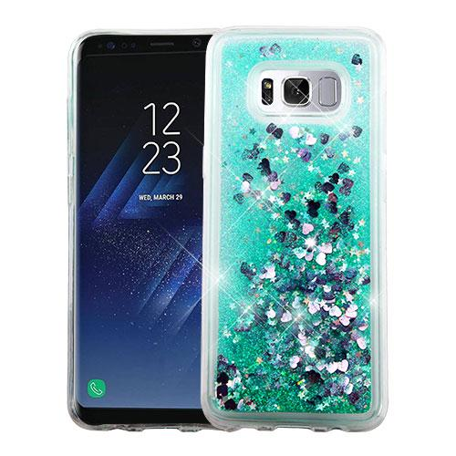 Samsung Galaxy S8 Case, Slim Crystal Back Bumper Case [Drop Protection] [Green & Hearts] Quicksand Glitter Flexible Border Case with Travel Wallet Phone Stand