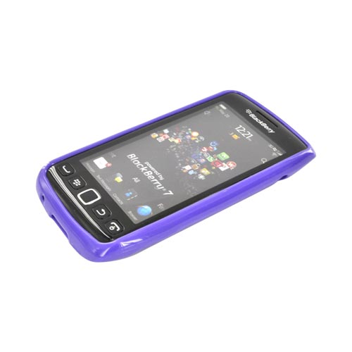 Blackberry Torch 9860, 9850 Hard Back w/ Gummy Silicone Border - Purple/ Frost White