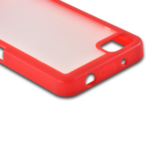 Matte Red/ Frost White Hard Case w/ Crystal Silicone Border for BlackBerry Z10