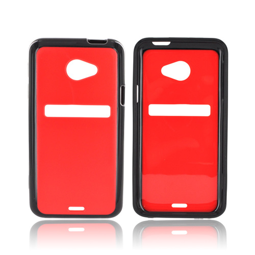 HTC EVO 4G LTE Hard Back w/ Crystal Silicone Border - Black/ Red