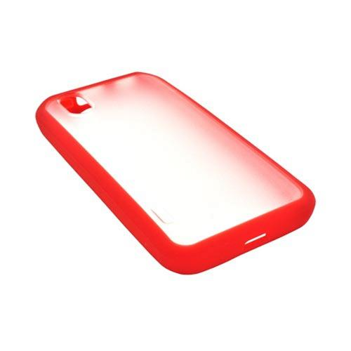 HTC EVO Design 4G Hard Back Case w/ Gummy Crystal Silicone Border - Red/ Frost White