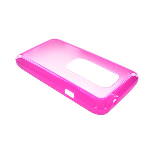 HTC EVO 3D Hard Back Case w/ Gummy Crystal Silicone Lining - Hot Pink/ Clear