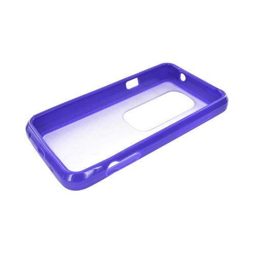 HTC EVO 3D Hard Back Case w/ Gummy Crystal Silicone Lining - Purple/ Clear