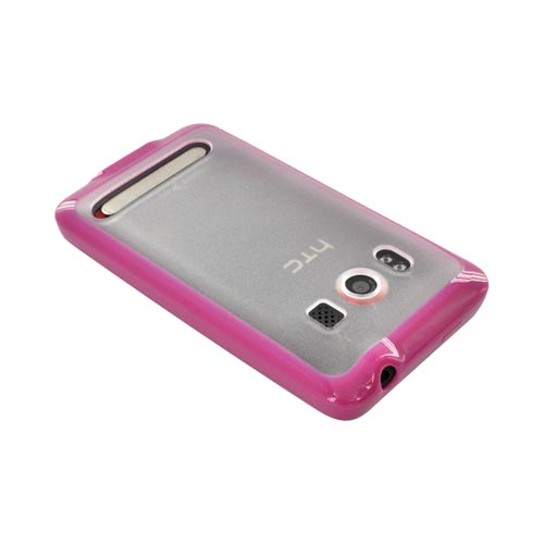 HTC Evo 4G Hard Back w/ Gummy Silicone Lining - Clear/ Hot Pink