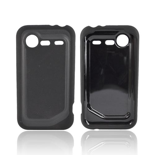 HTC Droid Incredible 2 Hard Back w/ Gummy Silicone Border Case - Black
