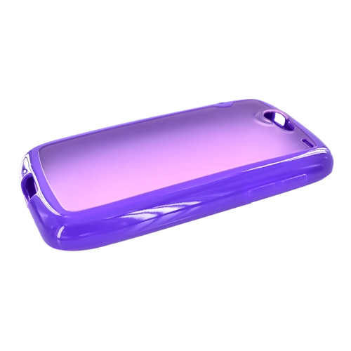 Google Nexus One Hard Back w/ Gummy Crystal Silicone Lining - Transparent Purple/Solid Purple