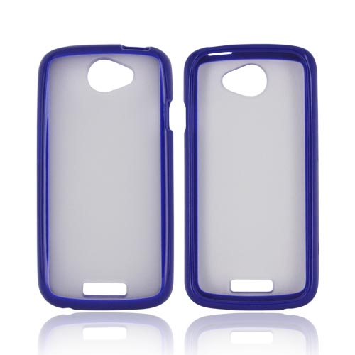HTC One S Hard Back Case w/ Gummy Crystal Silicone Lining - Blue/ Frost White