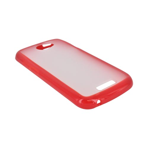 HTC One S Hard Back Case w/ Gummy Crystal Silicone Lining - Red/ Frost White