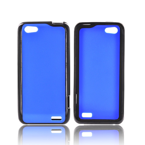 HTC One V Hard Back Case w/ Gummy Crystal Silicone Lining - Blue/ Black