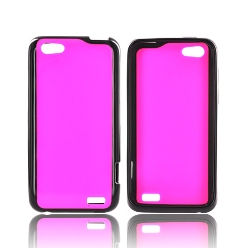 HTC One V Hard Back Case w/ Gummy Crystal Silicone Lining - Pink/ Black