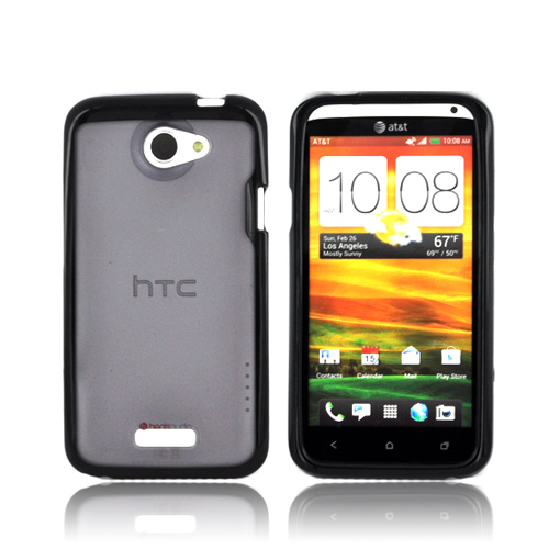 HTC One X Hard Back Case w/ Gummy Silicone Lining - Smoke/ Black
