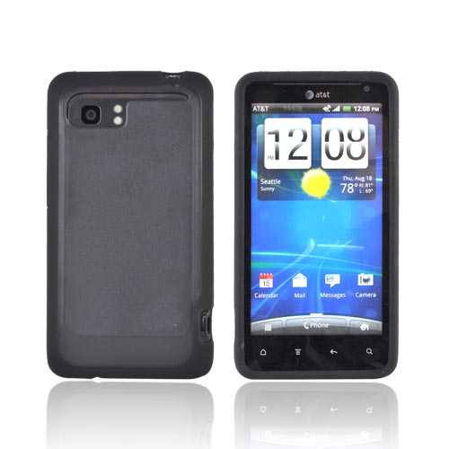 HTC Vivid Hard Case w/ Gummy Silicone Border - Black/ Smoke