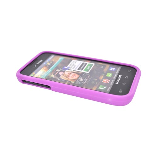Samsung Fascinate i500 Hard Case w/ Gummy Silicone Boarder - Purple/Black
