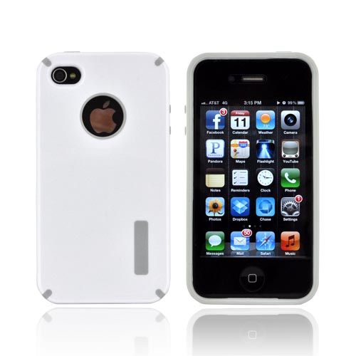 AT&T/ Verizon Apple iPhone 4, iPhone 4S Hybrid Hard Case w/ Silicone Lining - White/ Gray Truffle