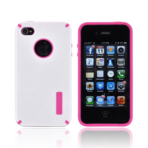AT&T/ Verizon Apple iPhone 4, iPhone 4S Hybrid Hard Case w/ Silicone Lining - White/ Hot Pink Truffle