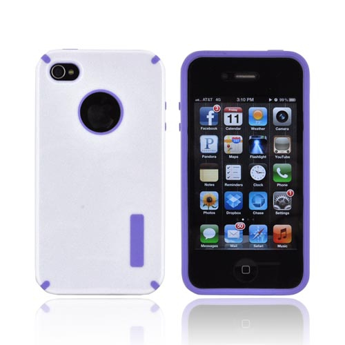 AT&T/ Verizon Apple iPhone 4, iPhone 4S Hybrid Hard Case w/ Silicone Lining - White/ Purple Truffle