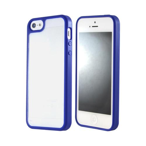 Apple iPhone SE / 5 / 5S  Case,  [Blue/ Frost White]  Hard Case w/ Gummy Silicone Border