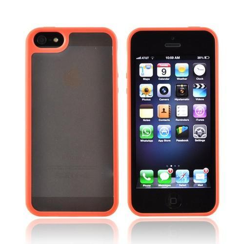 Apple iPhone 5/5S Hard Back w/ Gummy Silicone Border - Frost White/ Orange