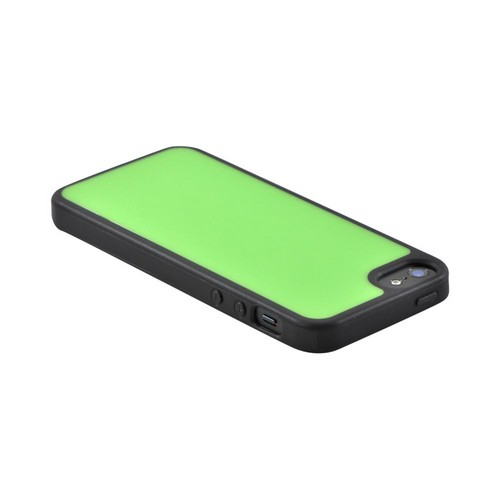 Apple iPhone SE / 5 / 5S  Case,  [Neon Green/ Black]  Hard Back w/ Gummy Silicone Border Case