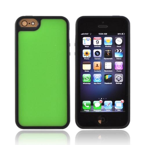 Apple iPhone 5/5S Hard Back w/ Gummy Silicone Border - Neon Green/ Black