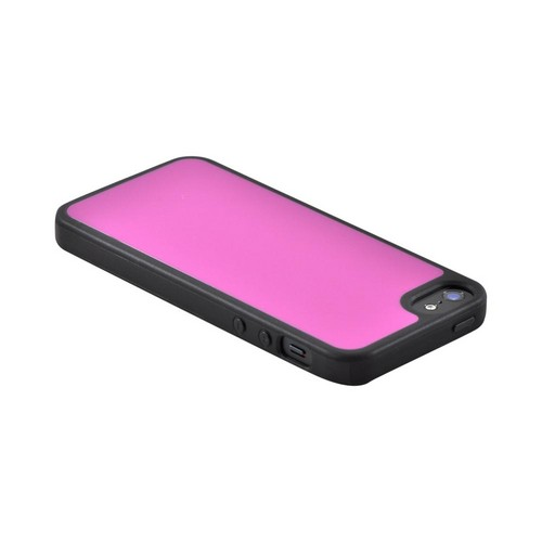 Apple iPhone SE / 5 / 5S  Case,  [Hot Pink/ Black]  Hard Back w/ Gummy Silicone Border Case
