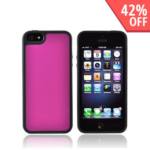 Apple iPhone 5/5S Hard Back w/ Gummy Silicone Border - Hot Pink/ Black