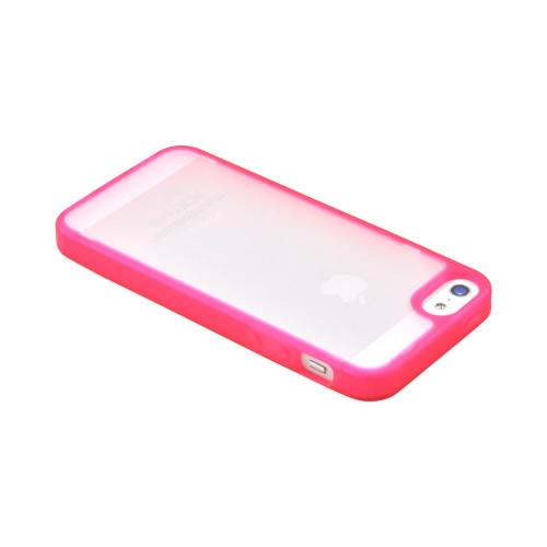 Apple iPhone SE / 5 / 5S  Case,  [Hot Pink/ Frost White]  Hard Case w/ Gummy Silicone Border