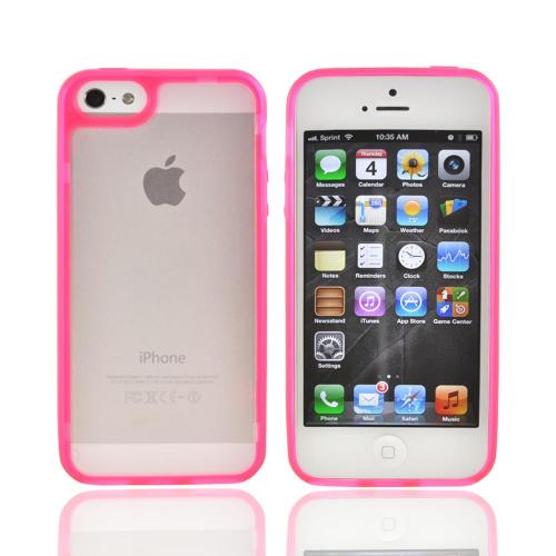 Apple iPhone 5/5S Hard Case w/ Gummy Silicone Border - Hot Pink/ Frost White