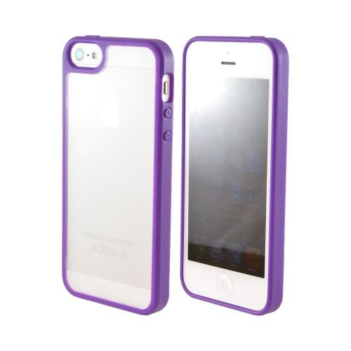 Apple iPhone SE / 5 / 5S  Case,  [Purple/ Frost White]  Hard Case w/ Gummy Silicone Border