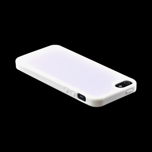 Apple iPhone SE / 5 / 5S  Case,  [White]  Hard Back w/ Gummy Silicone Border Case