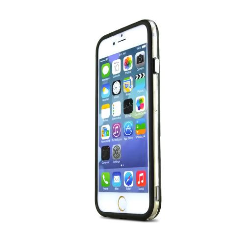 Apple iPhone 6/ 6S Case,  [Clear/ Black] Hard Back Slim & Flexible Anti-shock Crystal Silicone Protective TPU Gel Skin Case Cover