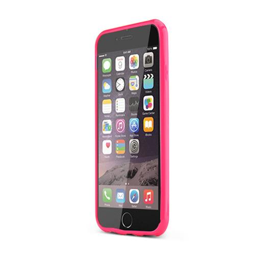 Apple iPhone 6/ 6S Case,  [Clear/ Hot Pink] Hard Back Slim & Flexible Anti-shock Crystal Silicone Protective TPU Gel Skin Case Cover