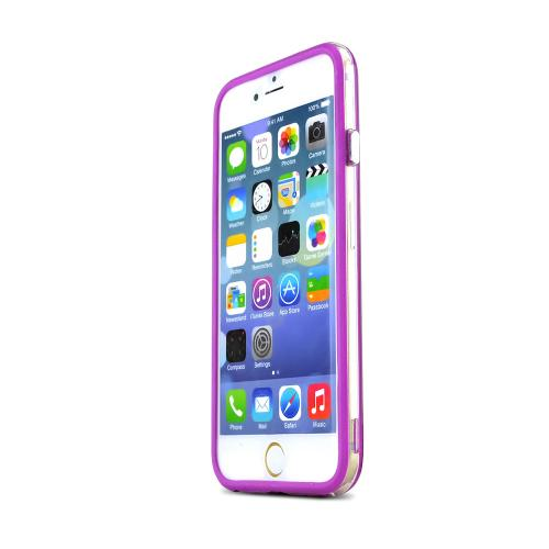 Apple iPhone 6/ 6S Case,  [Clear/ Purple] Hard Back Slim & Flexible Anti-shock Crystal Silicone Protective TPU Gel Skin Case Cover